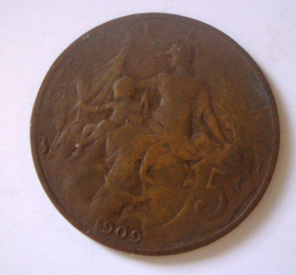 1909 France 5c Coin Republique Francais