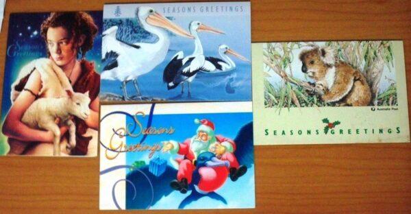 4 x Australia Post Seasons Greetings Christmas Cards