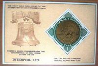 Samoa Sisifo Interphil 1976 First Gold Coin Miniature Stamp Sheet
